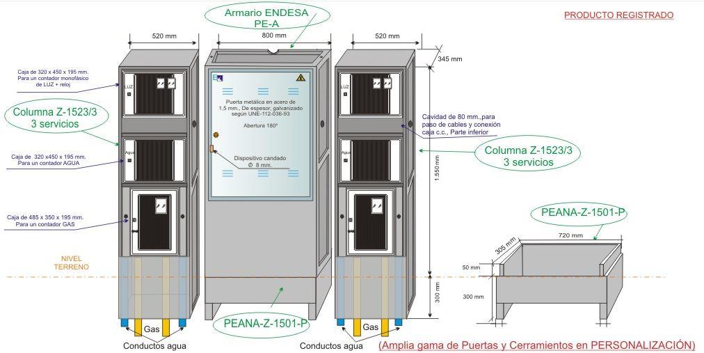 A Columnas Para Tres Servicios Luz Contador Monofásico