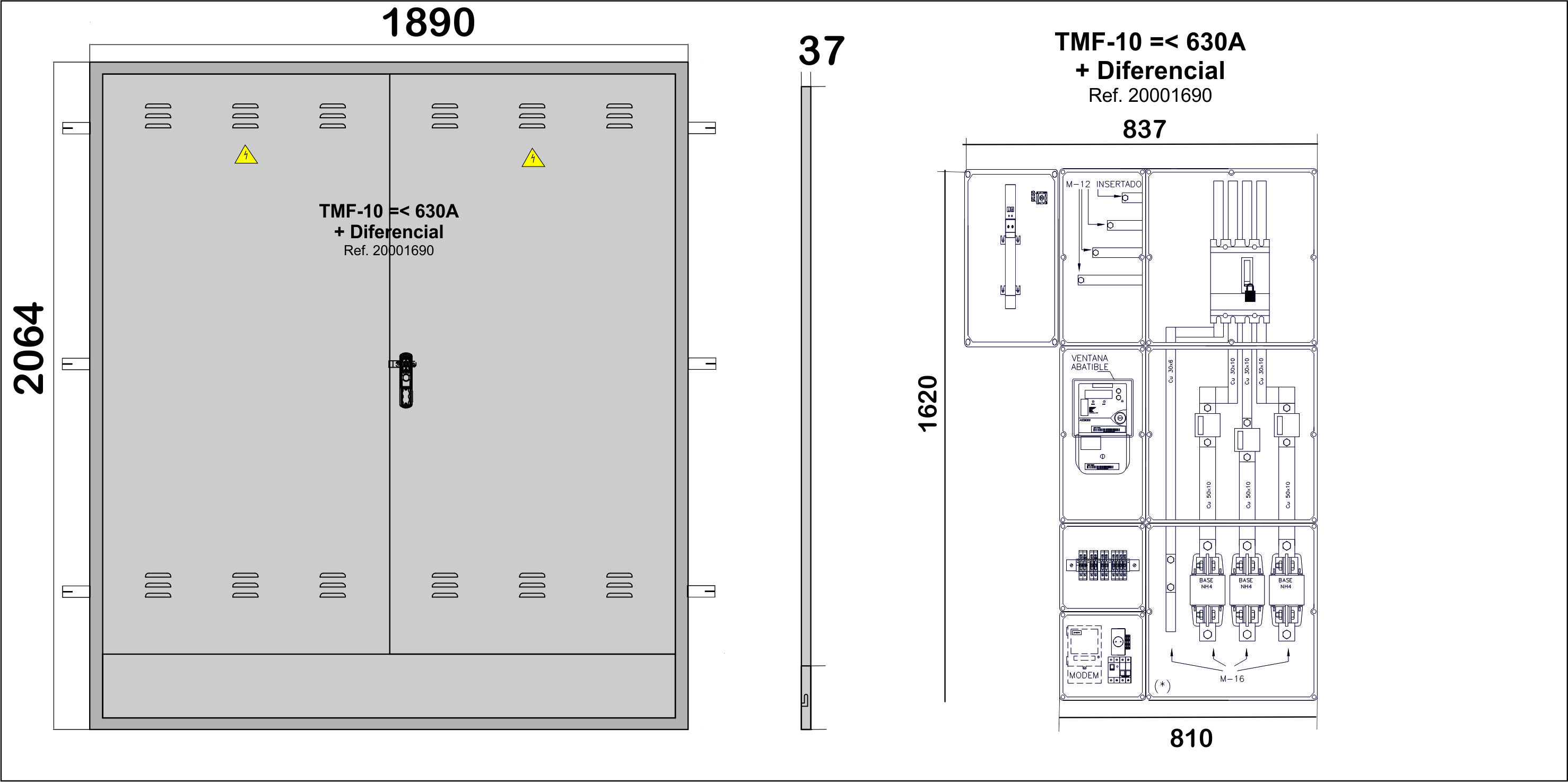 Na02066 puertas met licas para empotrar en pared nichos for Oficina fecsa endesa