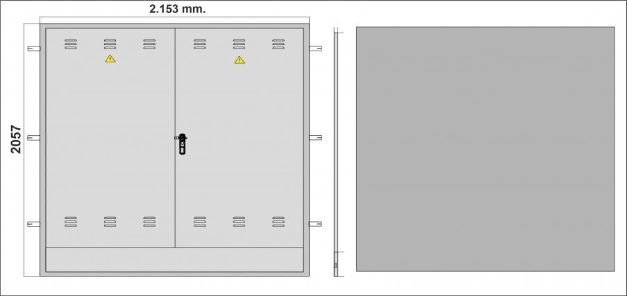 NA02067 Puerta empotrar en pared de 2057 x 2153 con marco y escuadras de fijación, de DOBLE HOJA, con cerradura anclaje 3 puntos BOMBÍN JIS/ Para utilidades diversas.