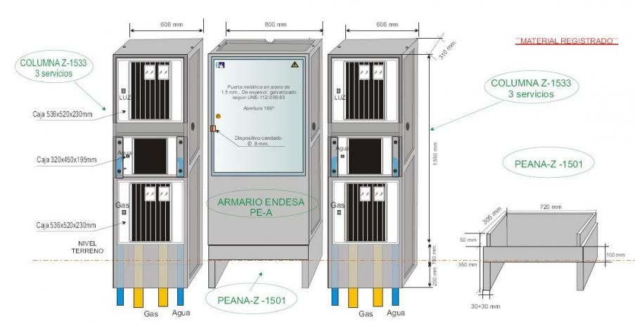NA05070 Columna 1533/3 prefabricada para tres suministros independientes: LUZ TRIFÁSICO + AGUA + GAS/ PLUS. PINTADA