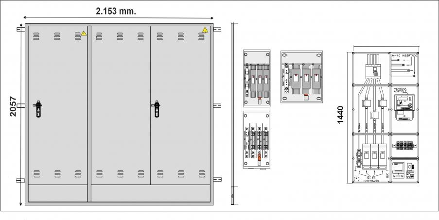 NA02068 Puerta empotrar en pared de 2057 x 2153 con DOS PUERTAS, una para CS+CGP, otra de DOBLE HOJA TMF-10 de hasta 346 KW.,. CIERRE  COMPAÑÍA+ JIS/ PARA GRA-6