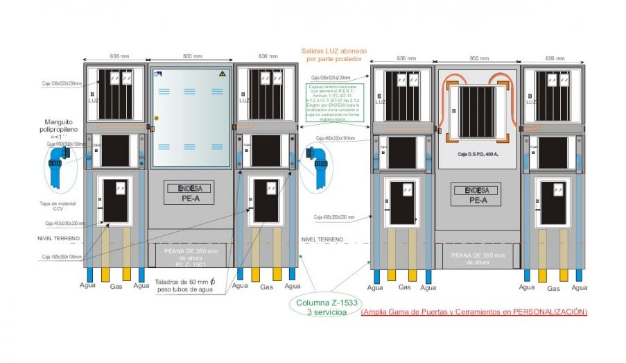 NA05071 Columna 1533_3 Vista Frontal + Interconexiones